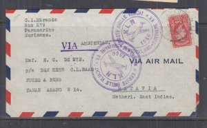 SURINAME, 1946 KLM First Flight cover to Batavia, Netherlands Indies.