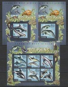 ST578 2015 SIERRA LEONE DOLPHINS FAUNA MARINE LIFE 1KB+2BL MNH STAMPS
