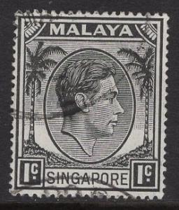 Singapore   #1a  used   1952  George  VI  1c  perf 18