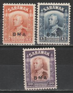SARAWAK 1945 BMA OVERPRINTED RAJAH 12C 15C AND 30C