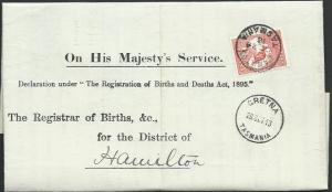 TASMANIA 1913 Birth notice GRETNA to Hamilton with T perfin 1d.............60442