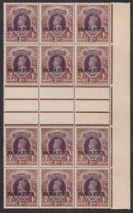 India, Nabha Sc 82 MNH. 1938 2r KGVI Gutter Block VF+