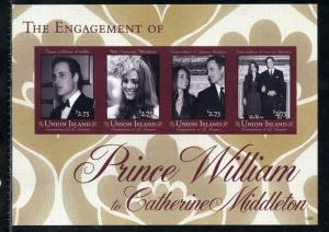 UNION ISLAND ENGAGEMENT OF PRINCE WILLIAM & KATE MIDDLETON  IMPERF SHEET  NH