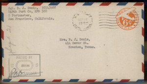 USA WWII APO Airmail Military Mail Cover 93801