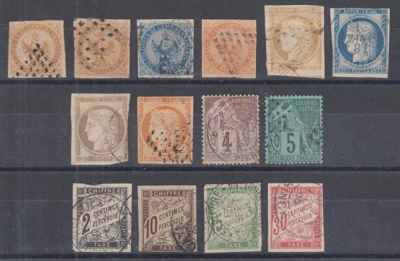 French Colonies Sc 3/J19 used. 1859-81 issues, 14 different, sound, F-VF group