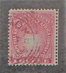 British East Africa 25. 1890-94 1R Rose, used