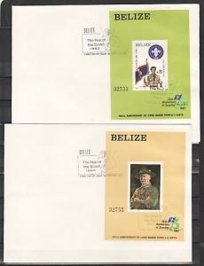 Belize, Scott cat. 644-645. Scouting Anniversary on 2 Plain First day covers. ^