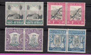 J28438, 1933-6 south africa mh/mhr pairs set #b1-4 designs