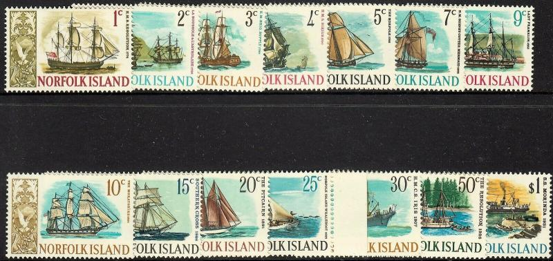 Norfolk Island 1967 QEII Ship Set of 14 MUH