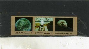 MANAMA 1972 Mi#945-B945B SPACE RESEARCH STRIP OF 3 STAMPS IMPERF. MNH