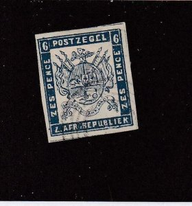 TRANSVAAL (MK6443) # 2 VF-USED IMPERF 6p 1869  COAT OF ARMS /ULTRA CV $230