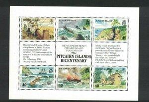 MPN18) Pitcairn Islands 1990 Bicentenary Settlement III Sheetlet MUH
