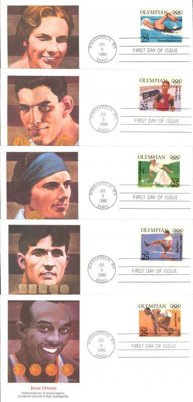 USA Sc# 2496-2500 (Fleetwood) FDC Set/5 (Minneapolis, MN) 1990 7.6 Olympians