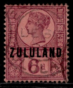 SOUTH AFRICA - Zululand QV SG8, 6d purple/rose-red, FINE USED. Cat £15.