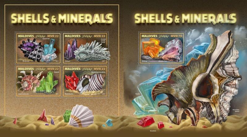 Z08 IMPERF MLD171010ab Maldives 2017 Shells and Minerals MNH ** Postfrisch
