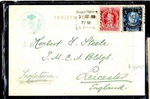 CHILE  (P3108B) 1906   2C COLUMBUS + 1C REVALUED ON PPC SANTIAGO TO ENGLAND
