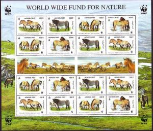 Mongolia WWF Przewalski's Horse Sheetlet of 4 sets SG#2861-2864 MI#3122-3125