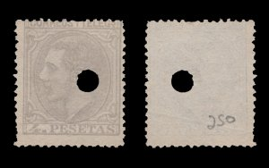 SPAIN STAMP 1879. SCOTT # 250. USED PUNCHED CANCEL