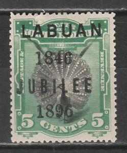 LABUAN 1896 JUBILEE 5C PEACOCK PERF 14.5
