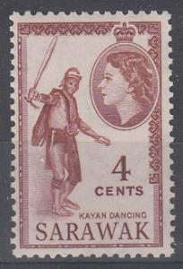 Malaya Sarawak 1955 Sc 199 QEII 4c MNH