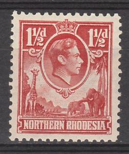 NORTHERN RHODESIA 1938 KGVI GIRAFFE AND ELEPHANTS 11/2D