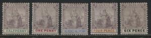 Trinidad 1896 various 1/2d to 6d values mint o.g.