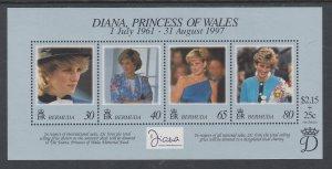 Bermuda 753 Princess Diana Souvenir Sheet MNH VF
