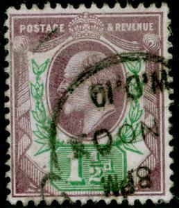 SG221, 1½d dull purple & green, USED, CDS. Cat £24.