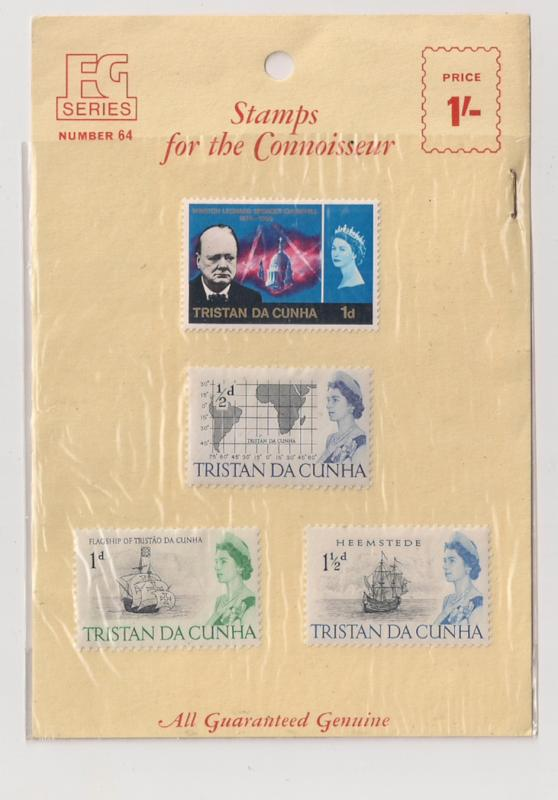 Tristan da Cunha British dealer's pack w 4 stamps inc #73, 89 Vintage 60s
