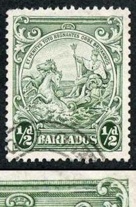 Barbados SG248a 1/2d Perf 13.5 x 13 R10/6 RECUT LINE Fine Used