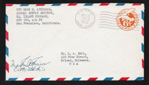 SCOTT #UC3 SAN FRANCISCO CA APO 502 (NEW CALEDONIA) AIR MAIL 1944