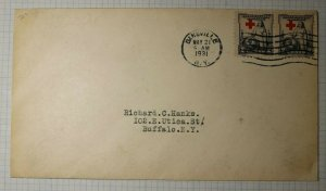 US FDC Sc# 702 Pair EFC Shift Up Print Red Cross 1931 Contents Westminster