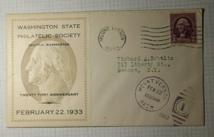 Washington State Philatelic Society Souvenir Sheet Cachet Cover 1935