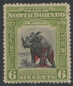 NORTH BORNEO SG206a 1914 6c APPLE-GREEN p141½-15 MTD MINT SHORT PERF