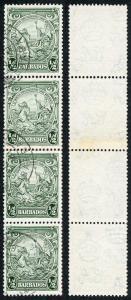 Barbados SG248var 1/2d Green COIL JOIN STRIP FINE USED