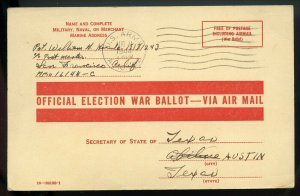 U.S. Free Franked Post Card Used to Request Texas Absentee Ballot During WW II