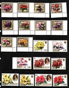 Niue-Sc#O1-O19-unused NH  Official set -Flowers-1985-7-