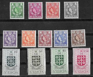 St. Lucia # 157-69  QE II Definitives - complete  (13)     Mint NH