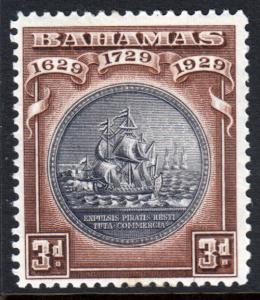Bahamas KGV 1930 Tercentenary 3d Black Deep Brown SG127 Mint Lightly Hinged