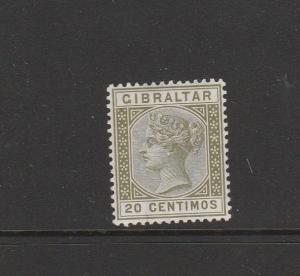 Gibraltar 1889 20c Olive Green UM/MNH SG 25