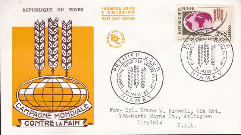 United Nations Food & Agricultural Organization 1963.Niger World Hunger FDC