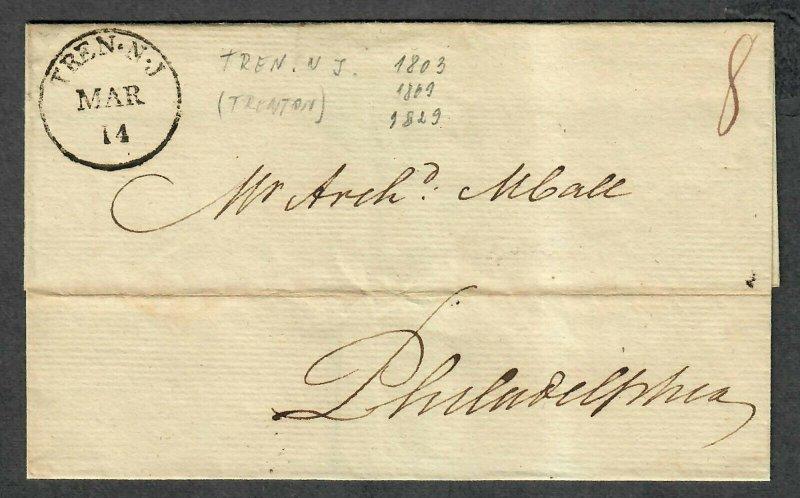 Stampless Cover Trenton NJ Mar 14 1803 To Philadelphia