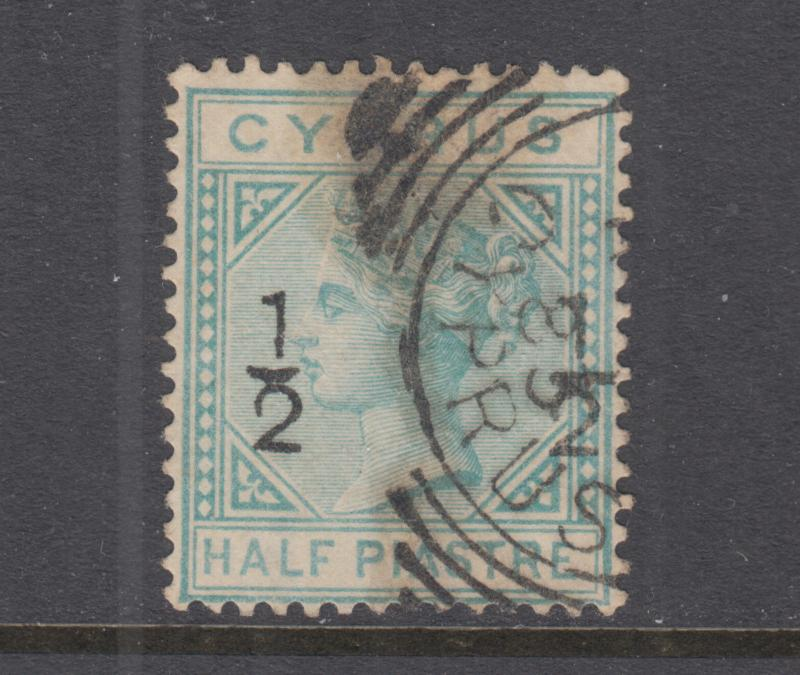 Cyprus Sc 16 used. 1882 ½pi surcharge on ½pi green Queen Victoria