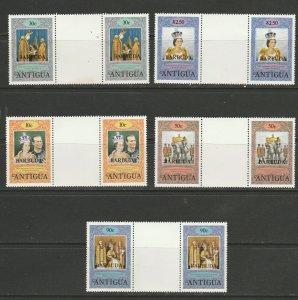 BARBUDA (ANTIGUA OPRINT) 1978 CORONATION, GUTTER PAIRS MNH