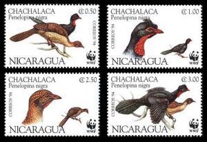 Nicaragua Birds WWF Highland Guan 4v SG#3509-3512 MI#3455-3458 SC#2067 a-d