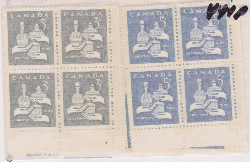 Canada - 1965 3c & 5c Christmas Matched Sets of Plate Blocks #443p-444p mint NH