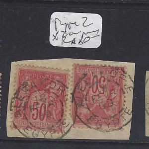 EGYPT FRENCH OFFICES IN ALEXANDRIA(PP0609B)FRANCE 50C SON CDS  2 STAMPS  VFU