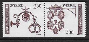 SWEDEN,1385A HINGE REMNANT ,PAIR, BAKERS SIGN