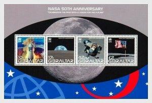 2008   GIBRALTAR  -  SG.MS1291 MINI SHEET  -  NASA 50TH ANNIVERSARY