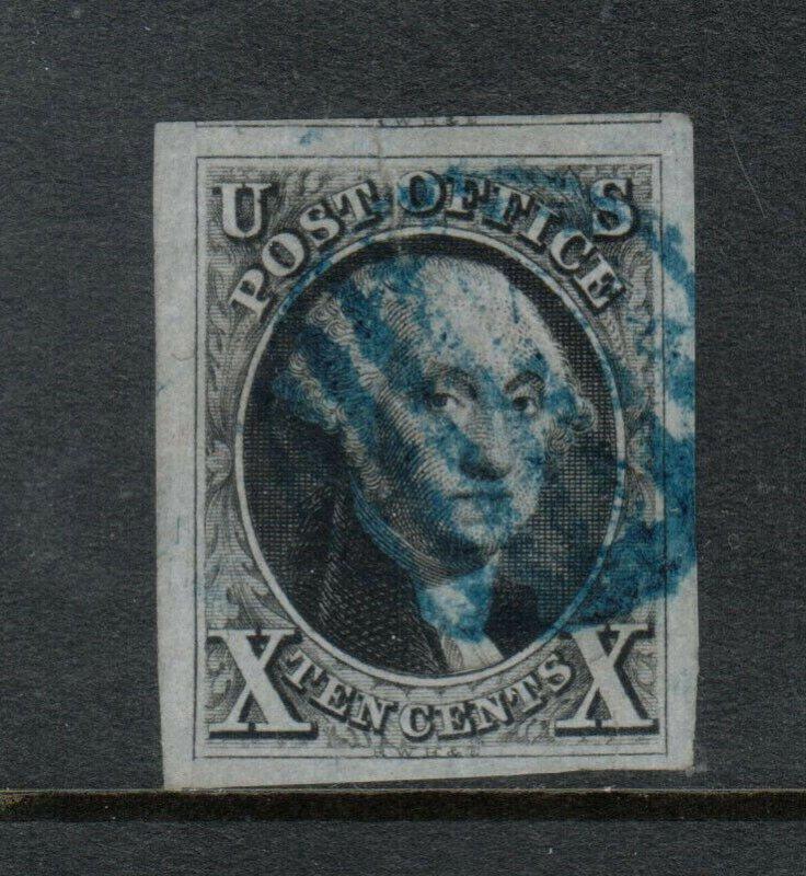 USA #2 Extra Fine Used Gem Huge Margins W\ Blue Grid Cancels Hidden Sealed Tear